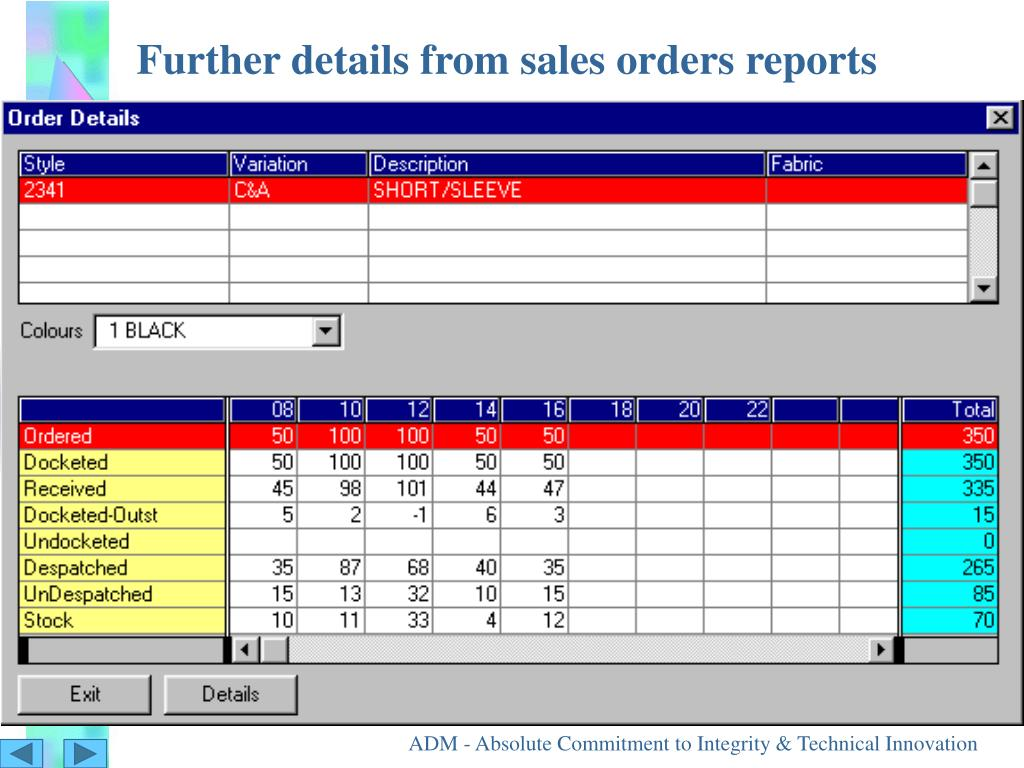 Further details from sales orders reports