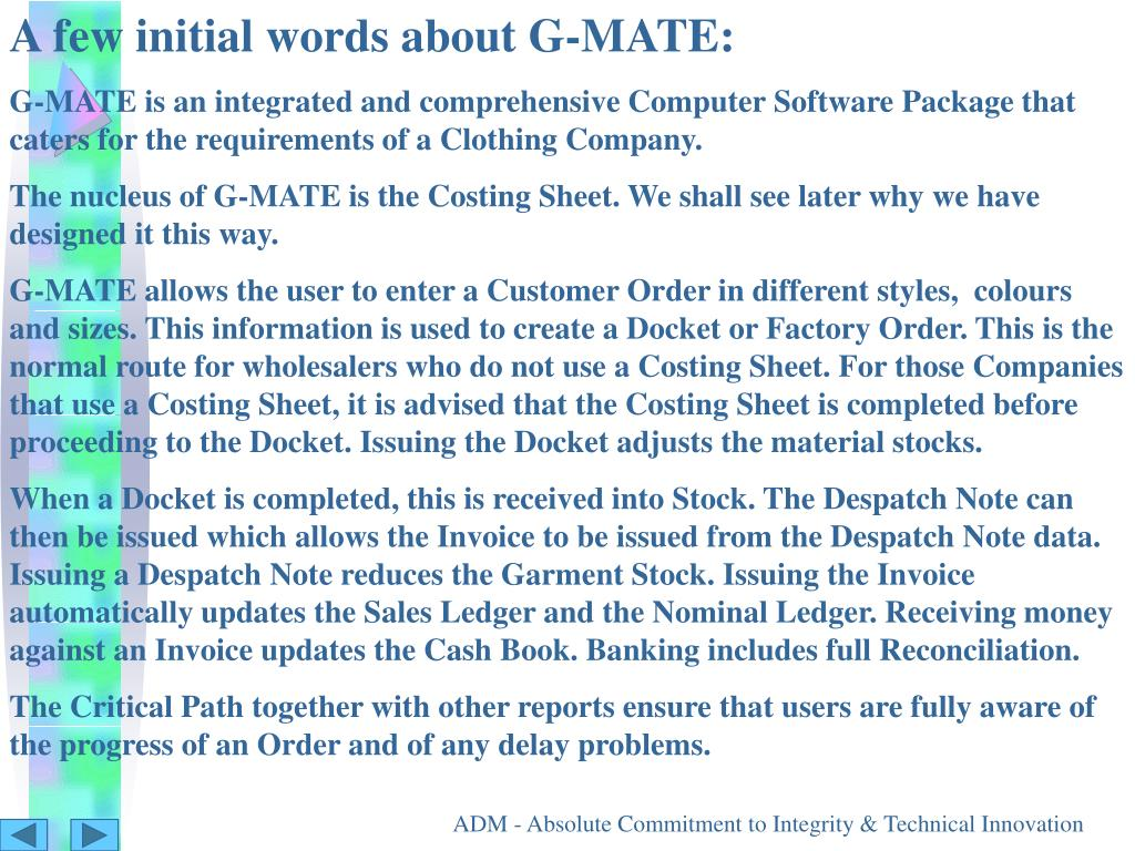 A few initial words about G-MATE: