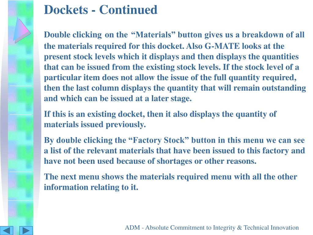 Dockets - Continued