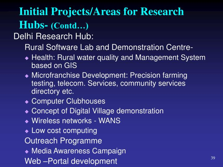 Initial Projects/Areas for Research Hubs-