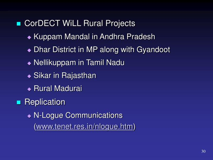 CorDECT WiLL Rural Projects