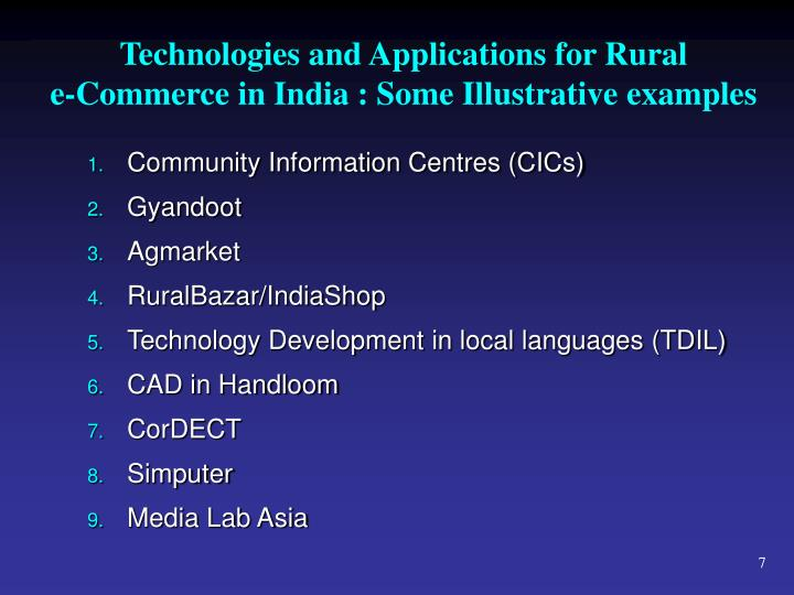 Technologies and Applications for Rural