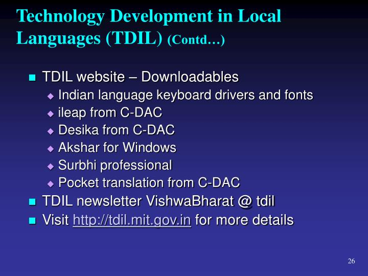 Technology Development in Local Languages (TDIL)