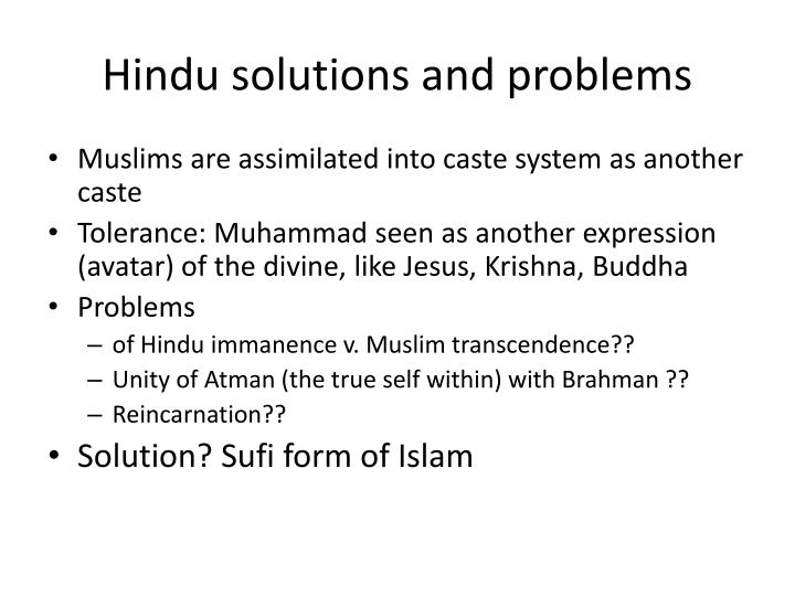 Hindu solutions and problems