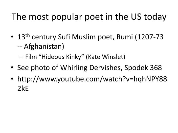 The most popular poet in the US today