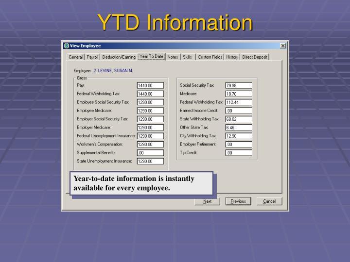 YTD Information