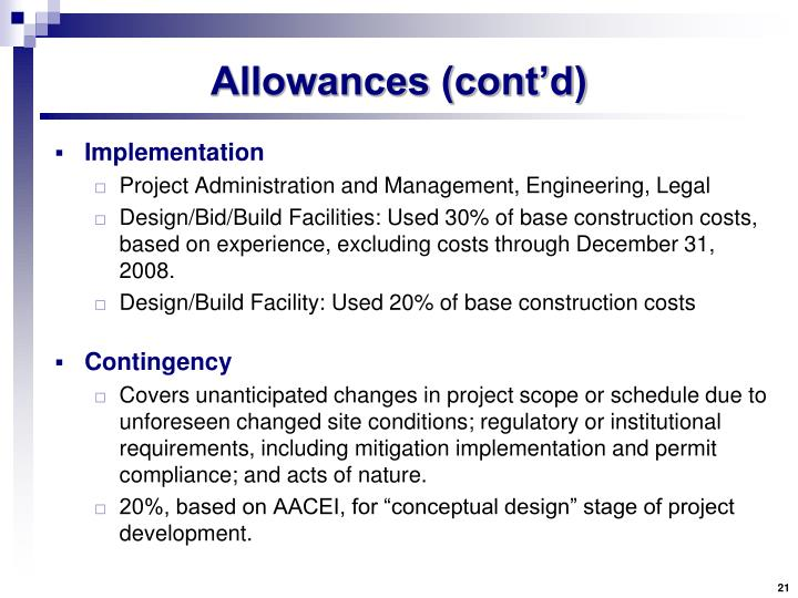 Allowances (cont'd)