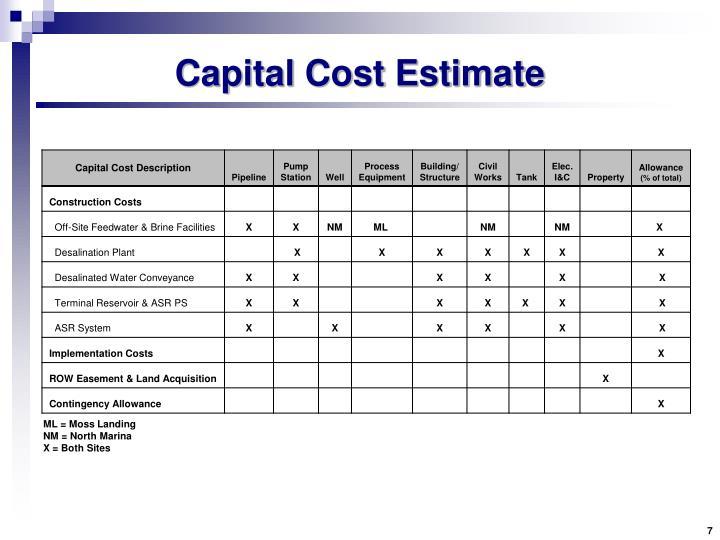 Capital Cost Estimate