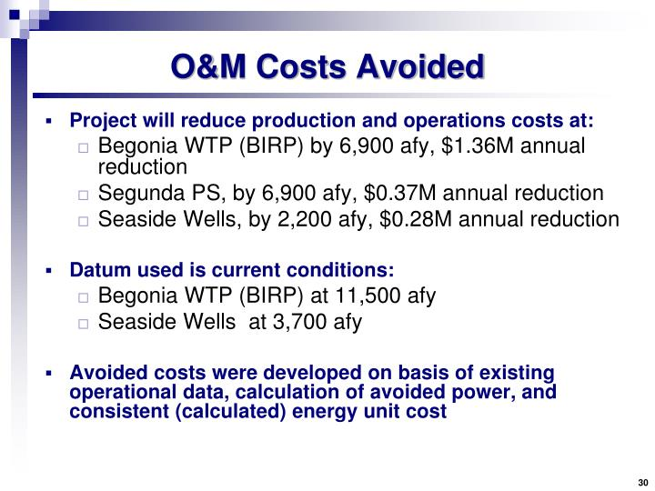 O&M Costs Avoided