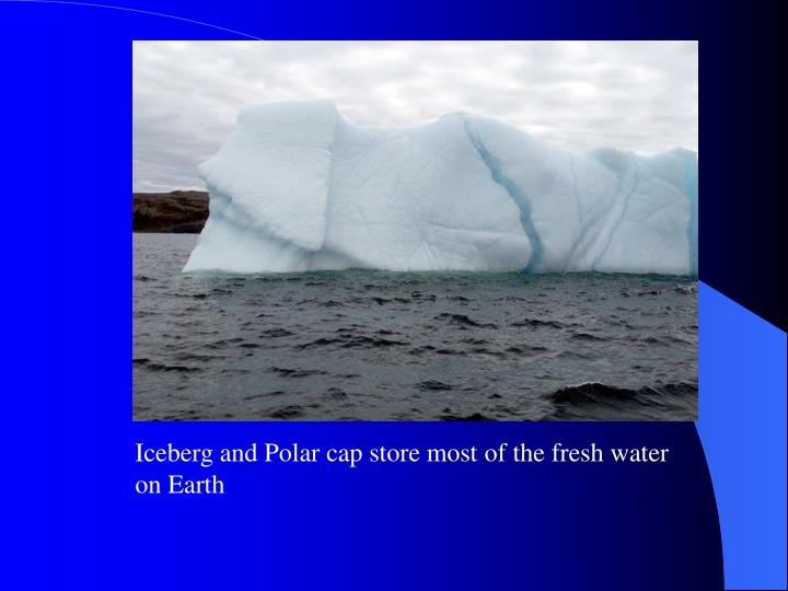 Iceberg and Polar cap store most of the fresh water