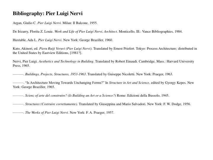 Bibliography: Pier Luigi Nervi