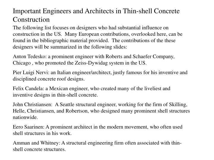 Important Engineers and Architects in Thin-shell Concrete Construction