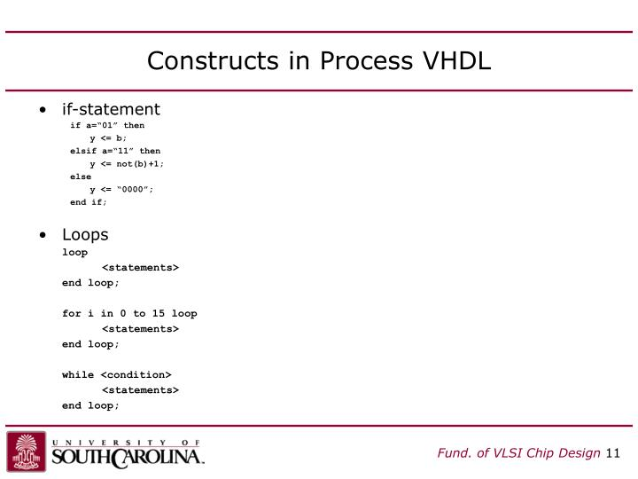 Constructs in Process VHDL