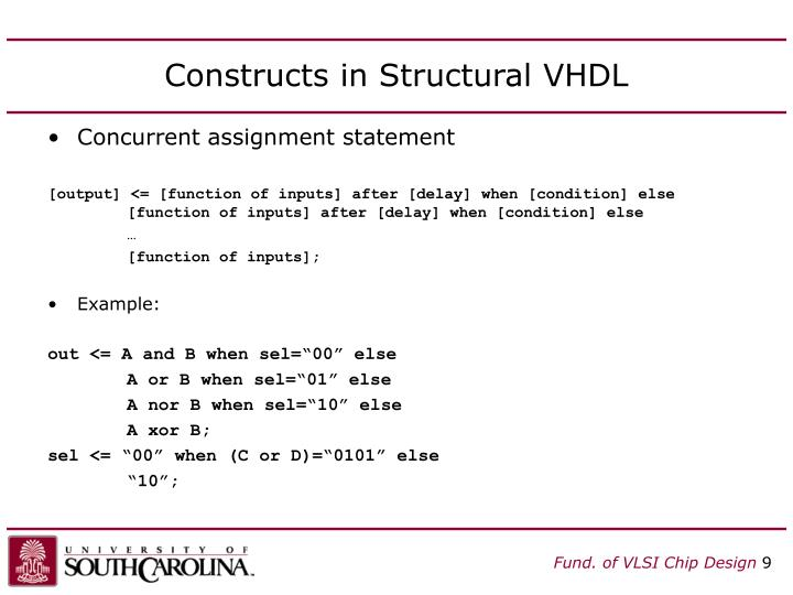 Constructs in Structural VHDL