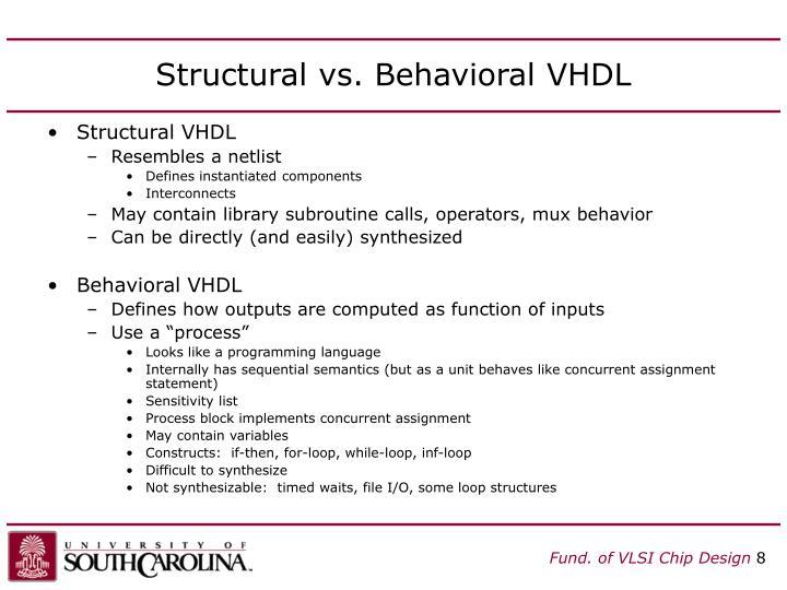 Structural vs. Behavioral VHDL