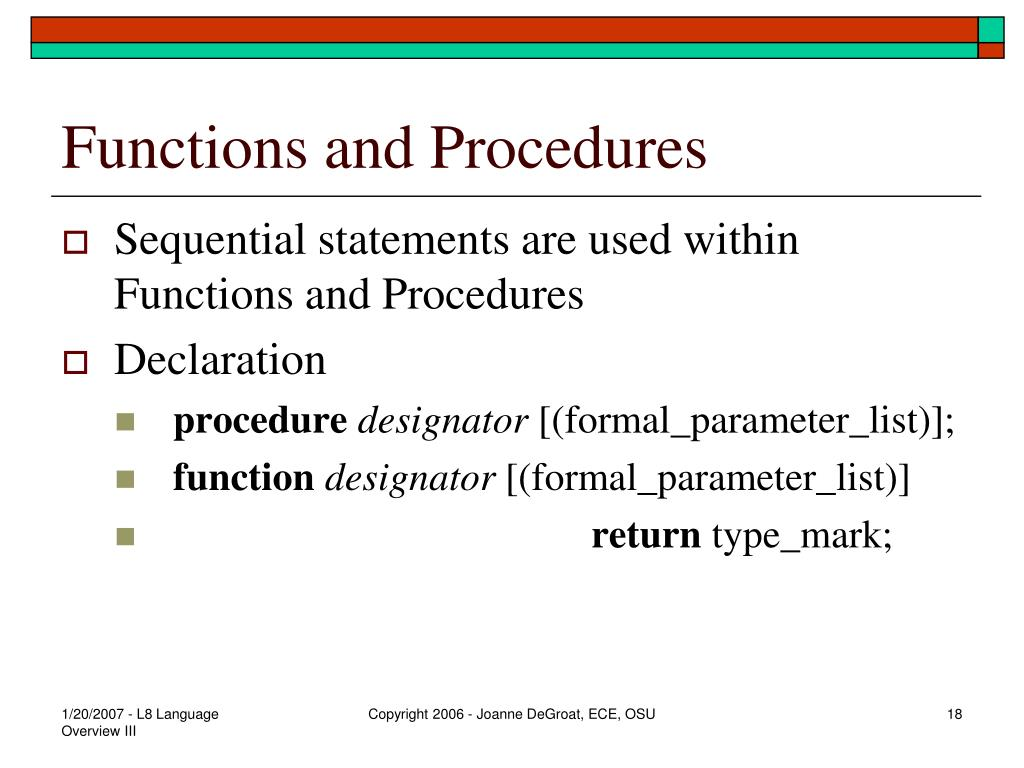 Functions and Procedures