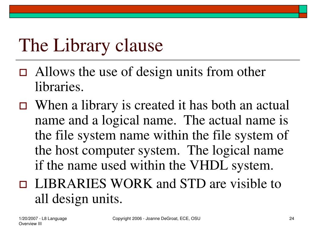The Library clause