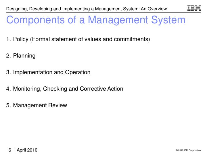 Components of a Management System