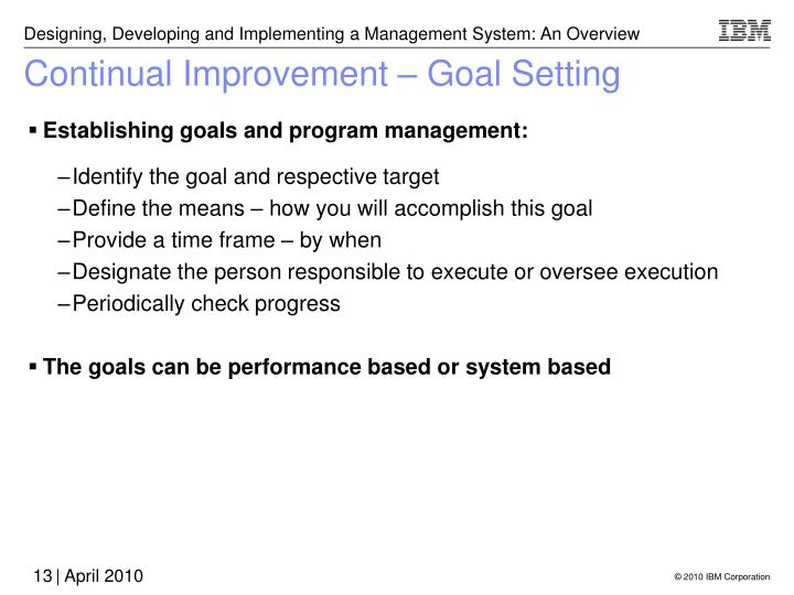 Continual Improvement – Goal Setting