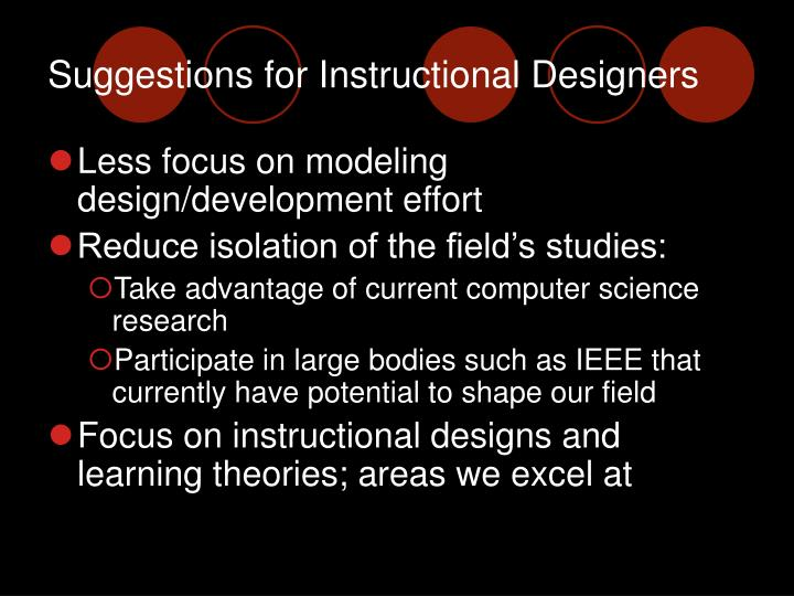 Suggestions for Instructional Designers