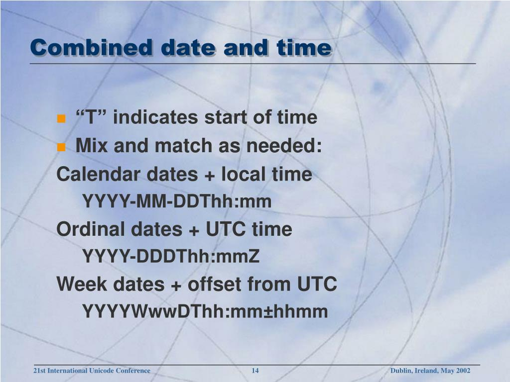 Combined date and time