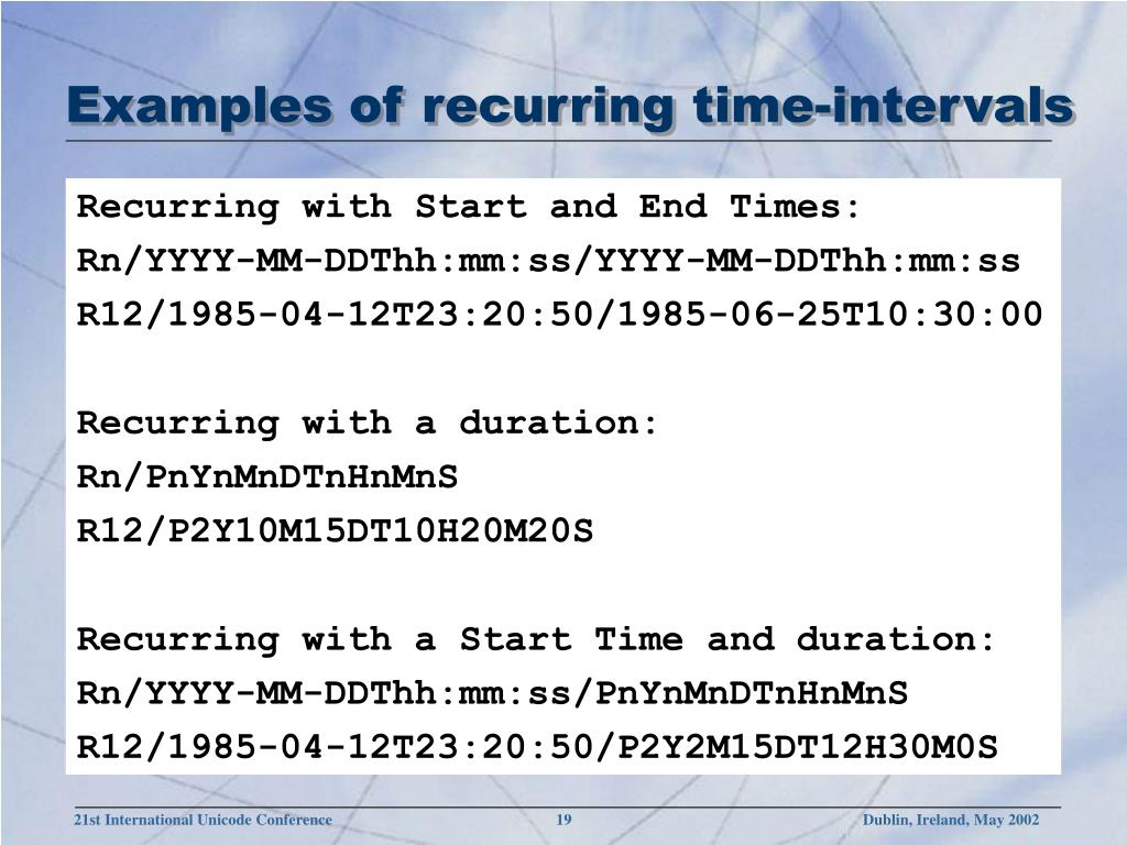 Examples of recurring time-intervals