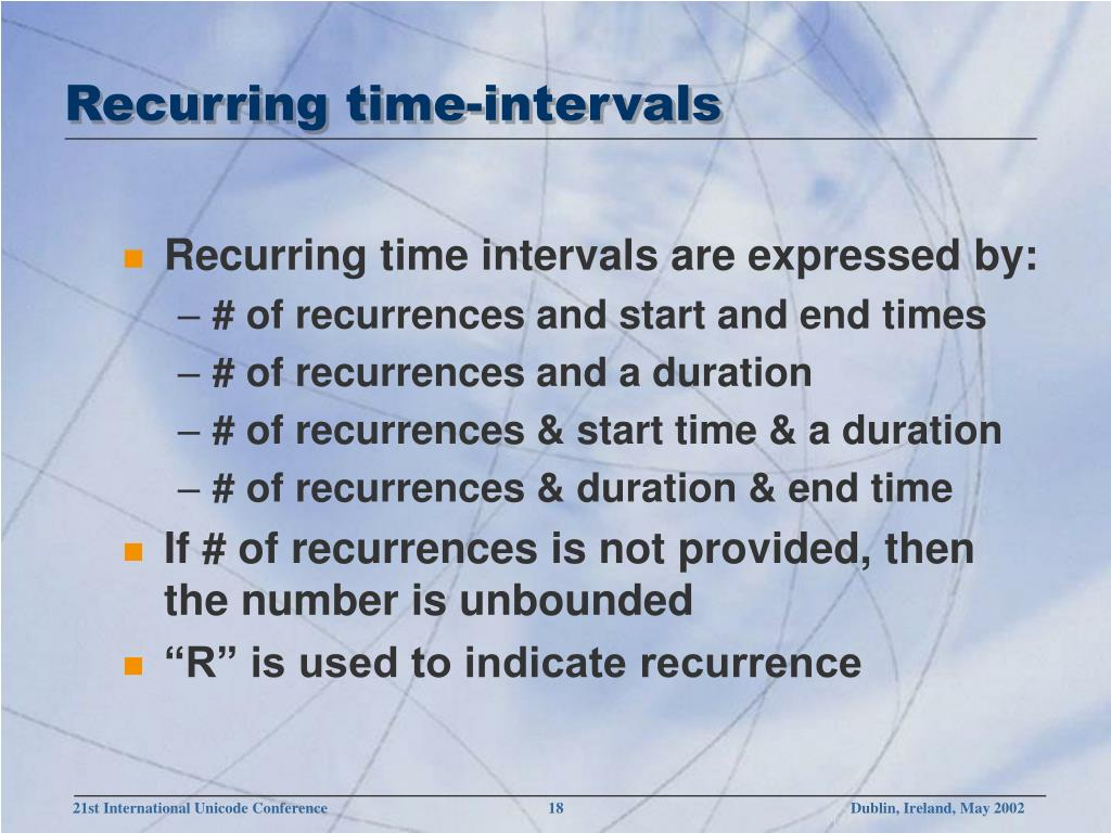 Recurring time-intervals