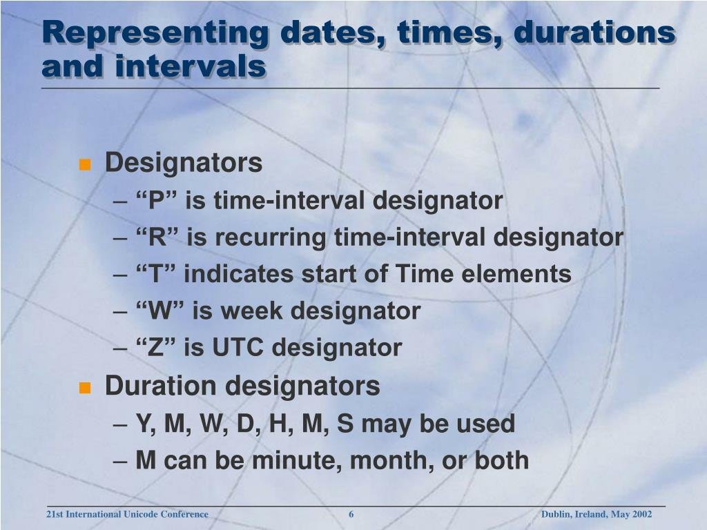 Representing dates, times, durations and intervals