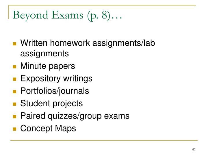 Beyond Exams (p. 8)…