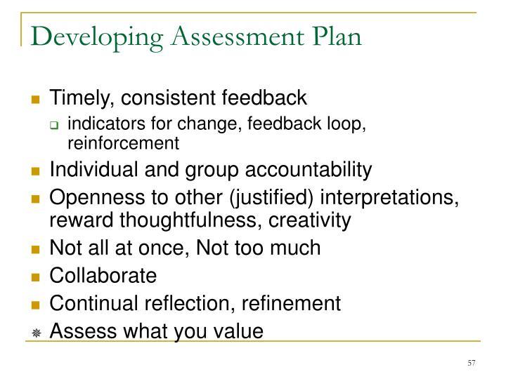 Developing Assessment Plan