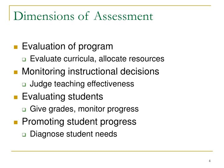 Dimensions of Assessment