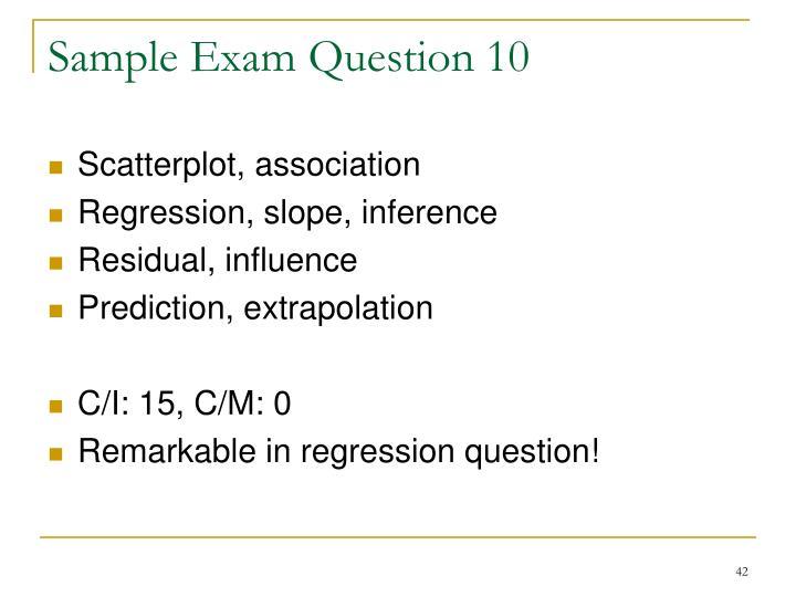 Sample Exam Question 10