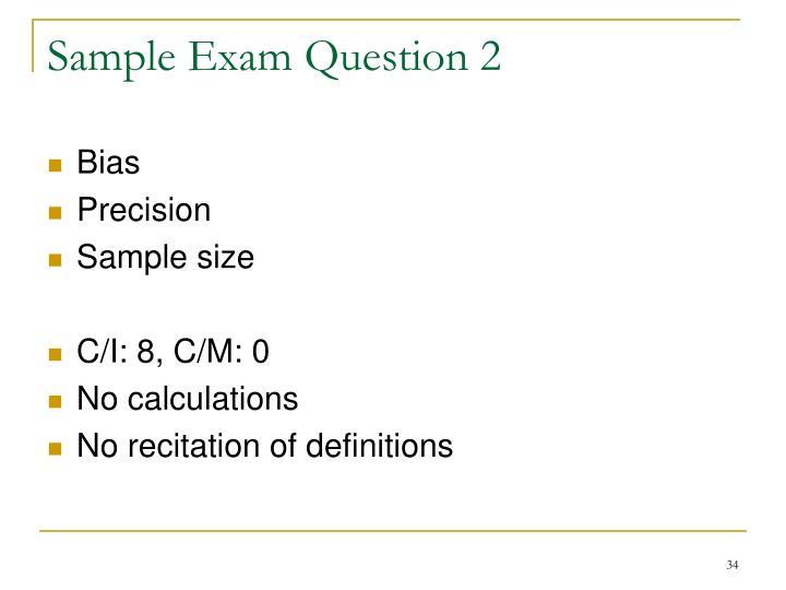 Sample Exam Question 2