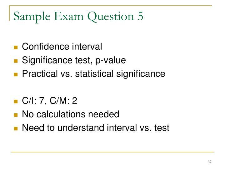 Sample Exam Question 5