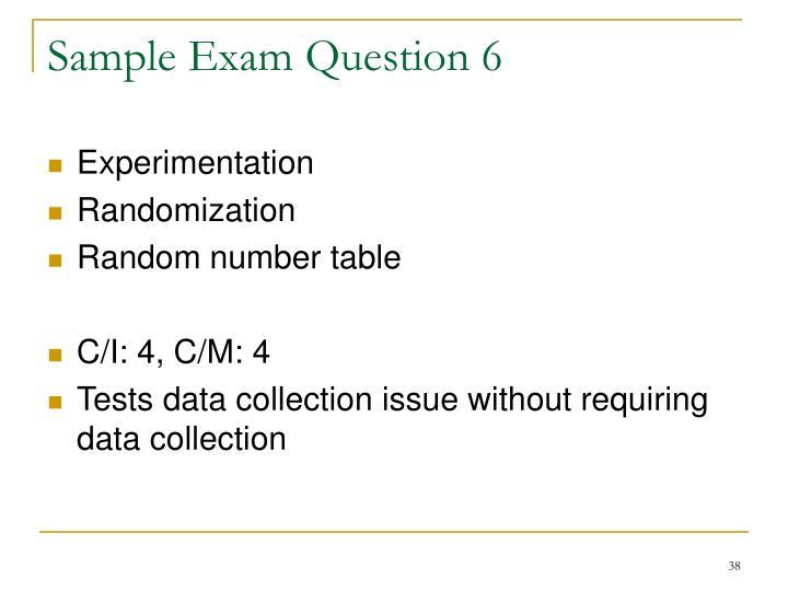 Sample Exam Question 6