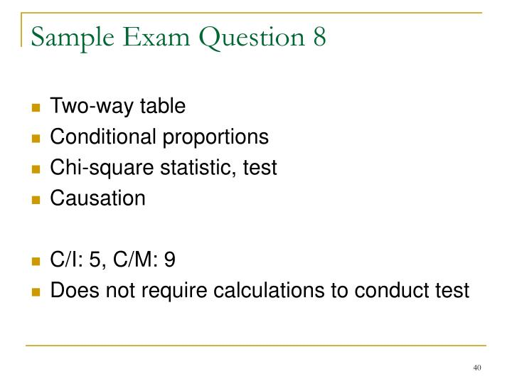 Sample Exam Question 8
