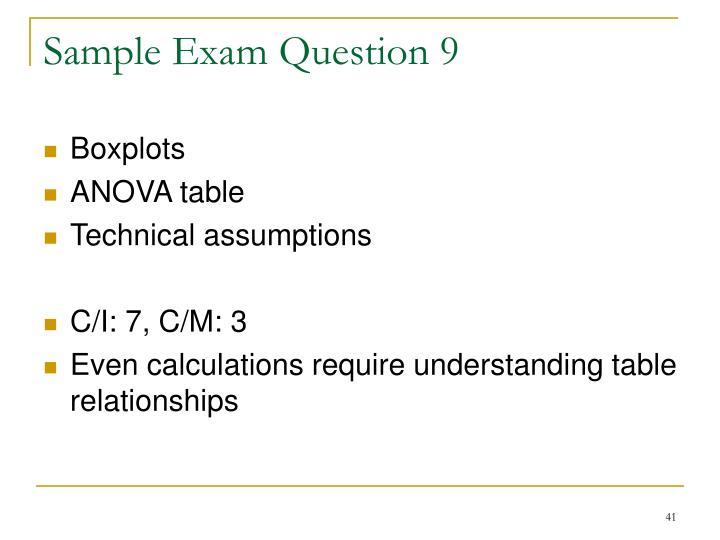 Sample Exam Question 9