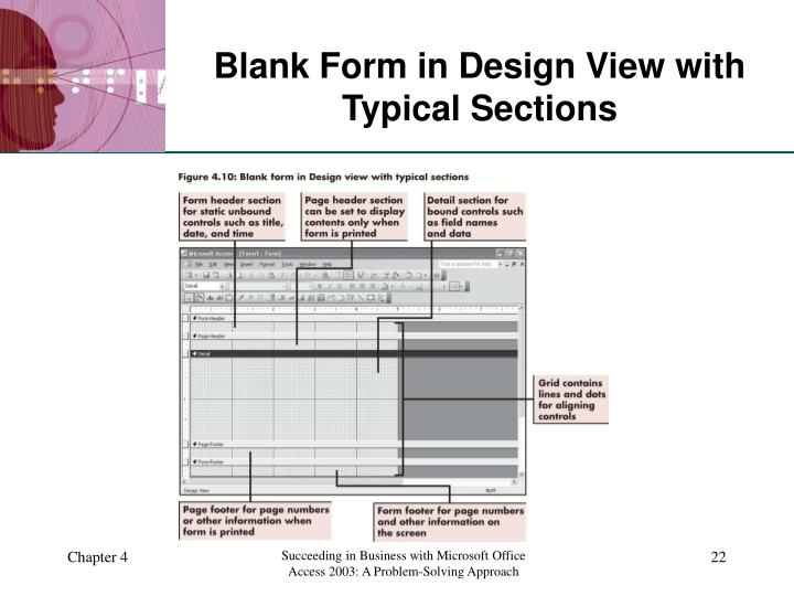 Blank Form in Design View with Typical Sections