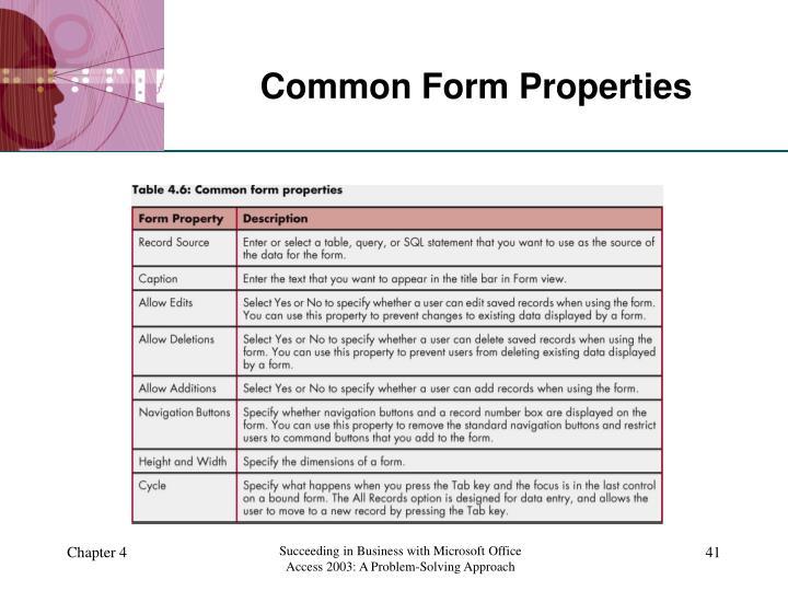 Common Form Properties