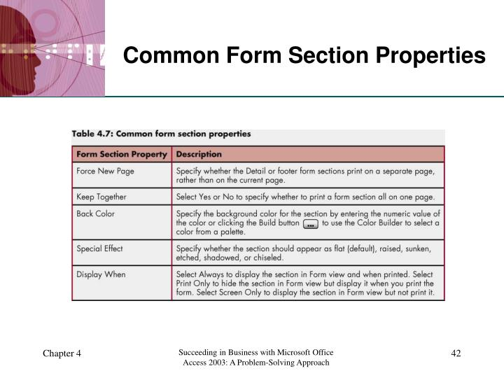 Common Form Section Properties