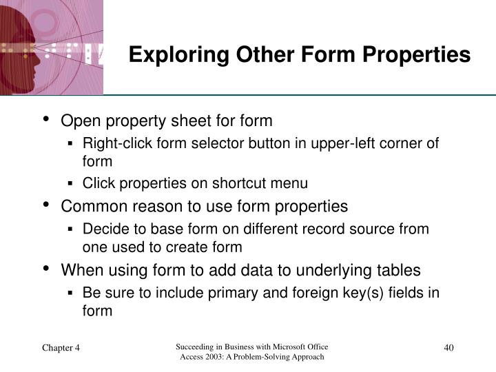 Exploring Other Form Properties