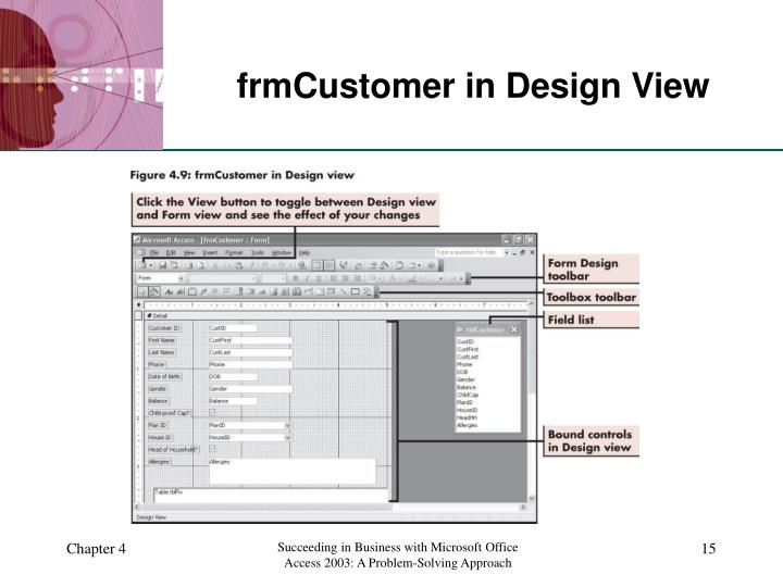 frmCustomer in Design View
