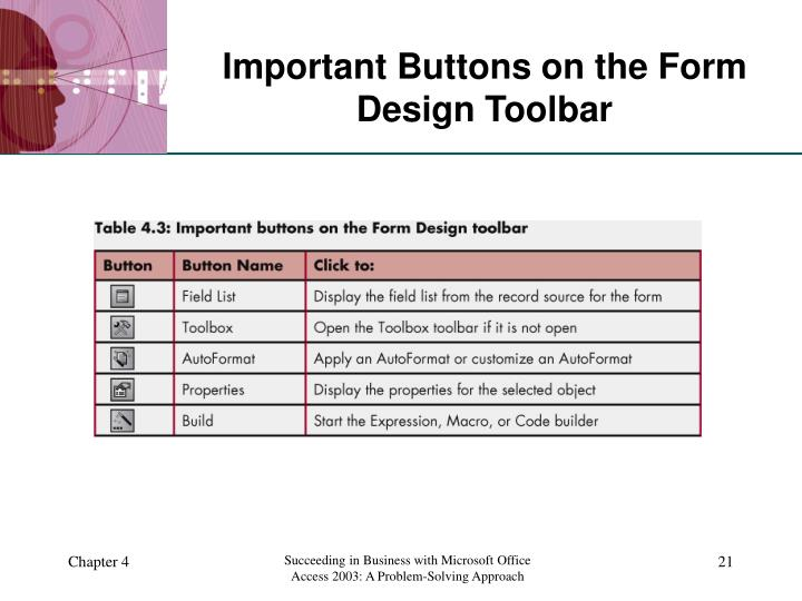 Important Buttons on the Form Design Toolbar