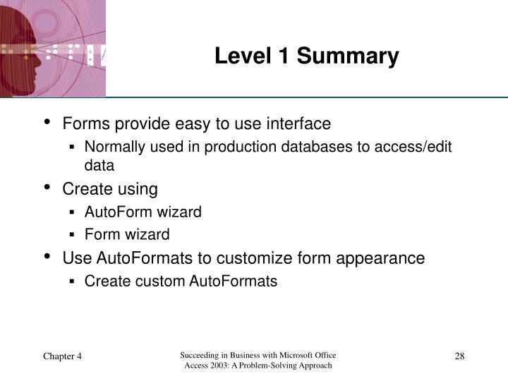 Level 1 Summary