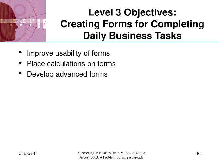 Level 3 Objectives: