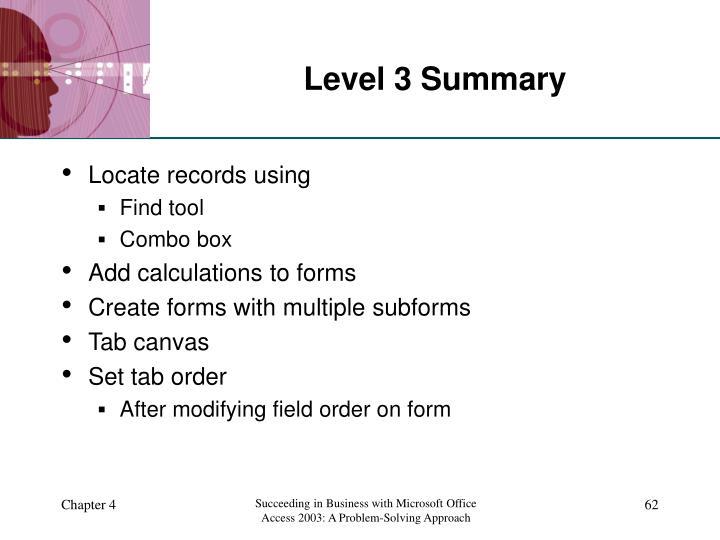 Level 3 Summary