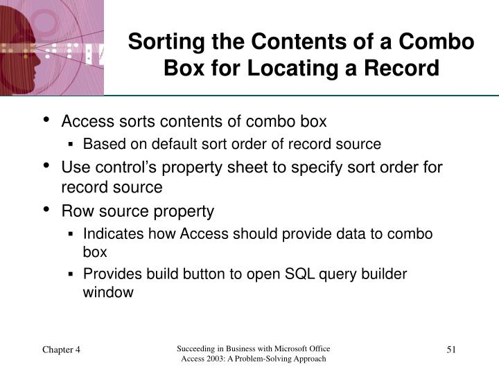 Sorting the Contents of a Combo Box for Locating a Record