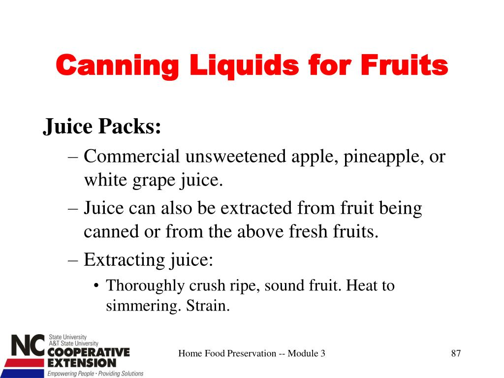 Canning Liquids for Fruits
