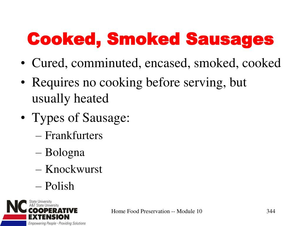 Cooked, Smoked Sausages