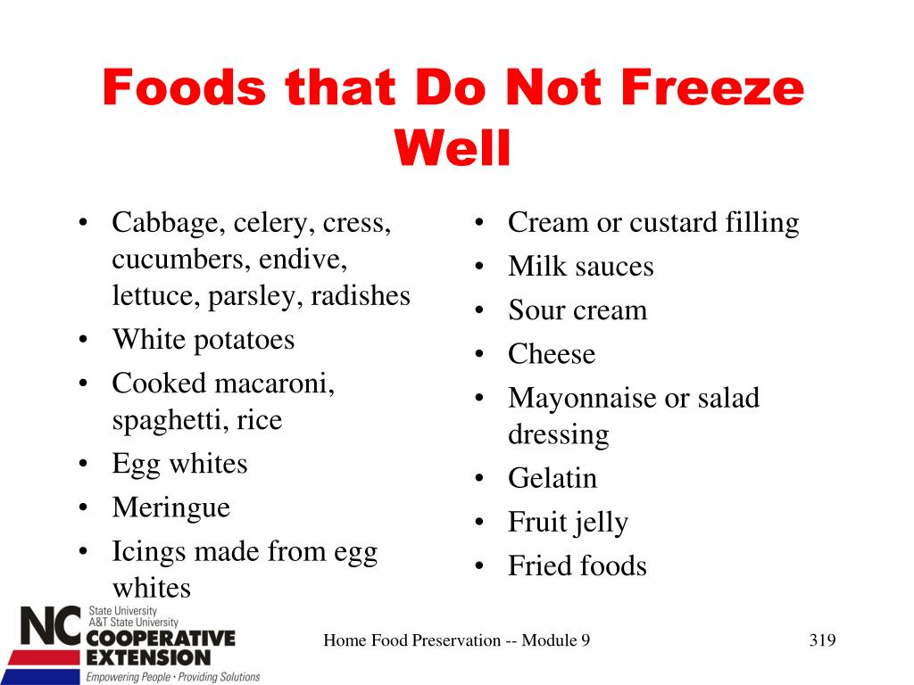 Foods that Do Not Freeze Well